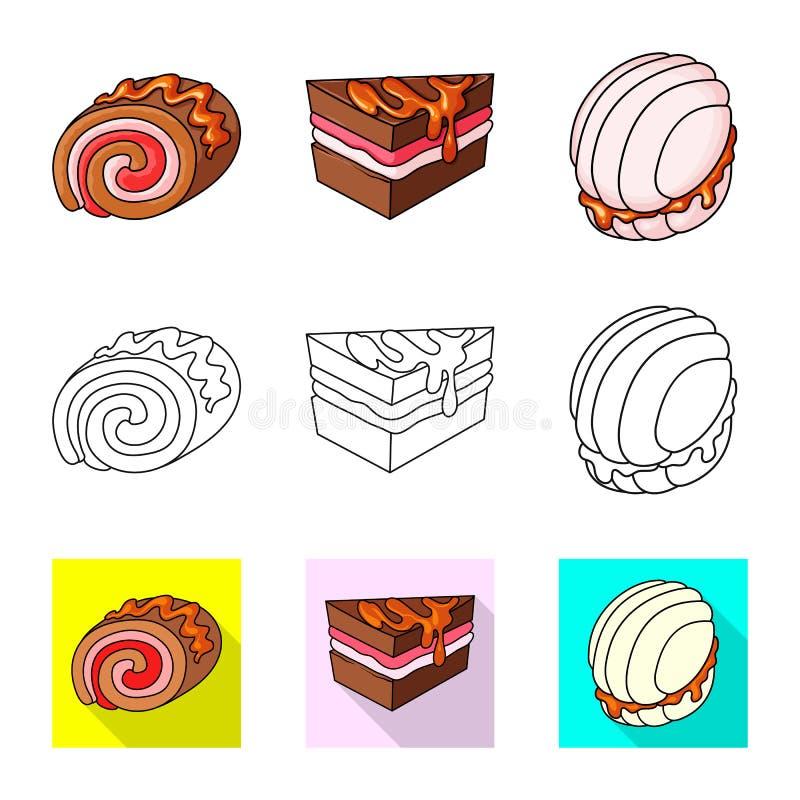 Vectorontwerp van banketbakkerij en culinair symbool Reeks van banketbakkerij en productvoorraad vectorillustratie stock illustratie