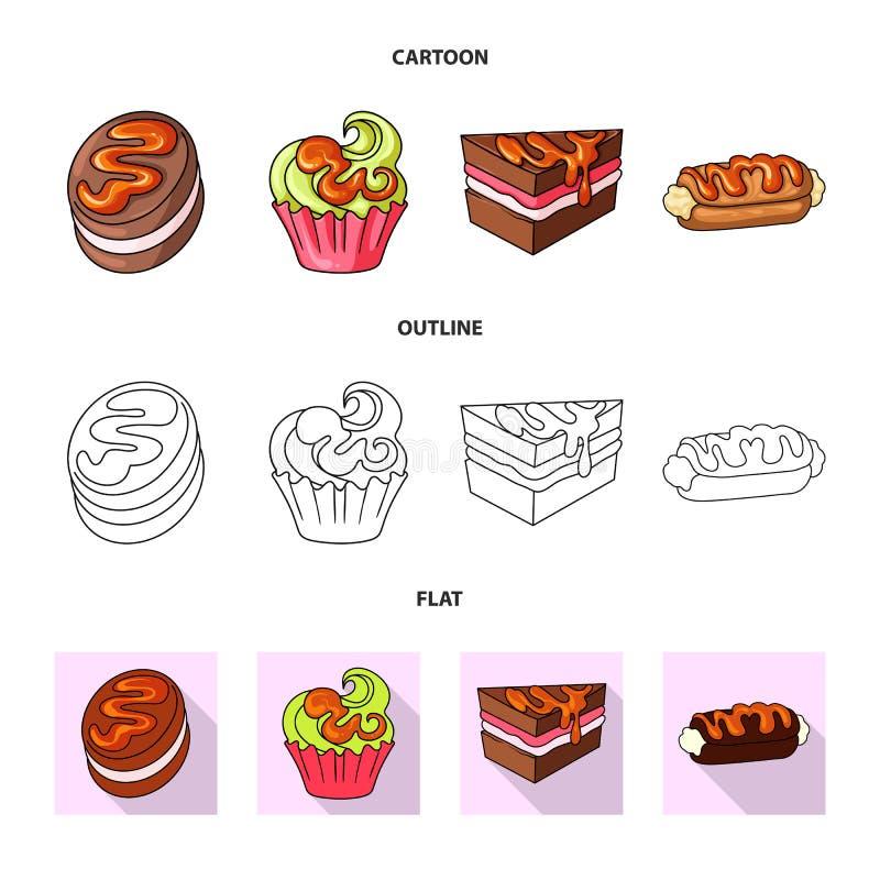 Vectorontwerp van banketbakkerij en culinair symbool Reeks van banketbakkerij en productvoorraadsymbool voor Web stock illustratie
