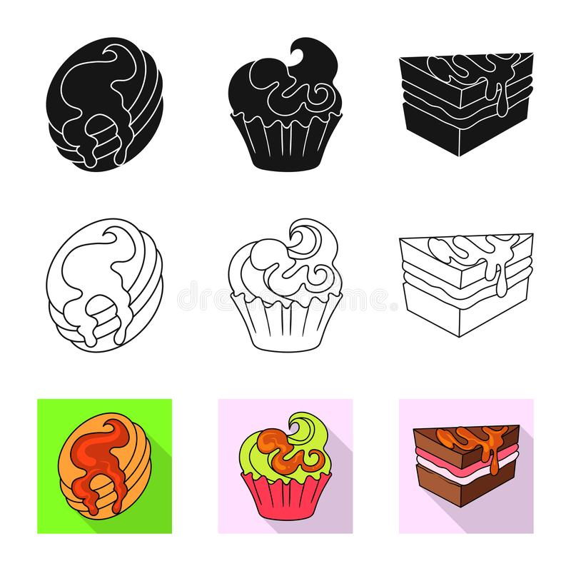 Vectorontwerp van banketbakkerij en culinair teken Inzameling van banketbakkerij en product vectorpictogram voor voorraad vector illustratie