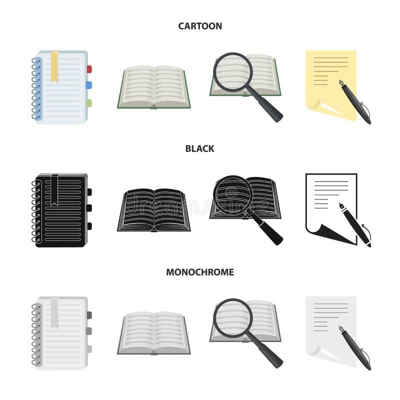 Vectorontwerp van boek en open embleem Inzameling van boek en potlood vectorpictogram voor voorraad vector illustratie
