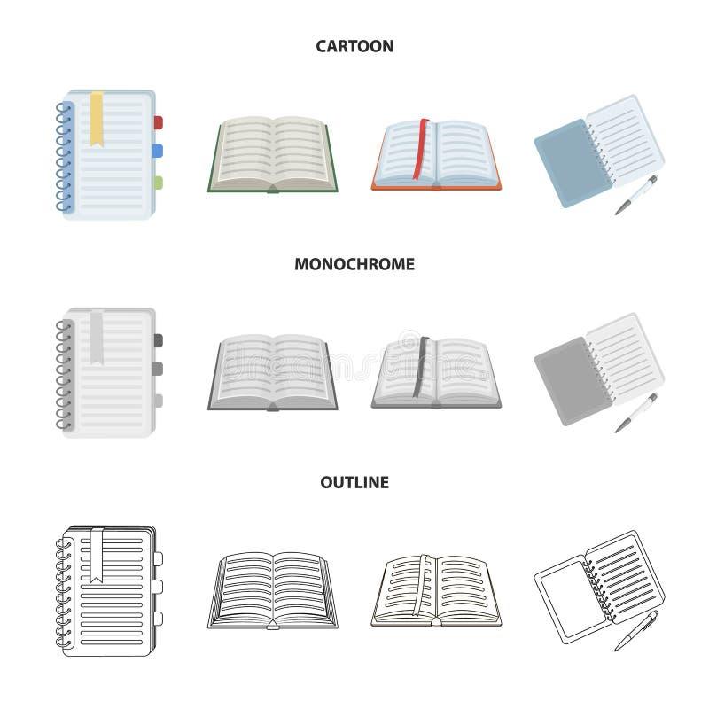 Vectorontwerp van boek en open symbool Inzameling van boek en potloodvoorraad vectorillustratie stock illustratie