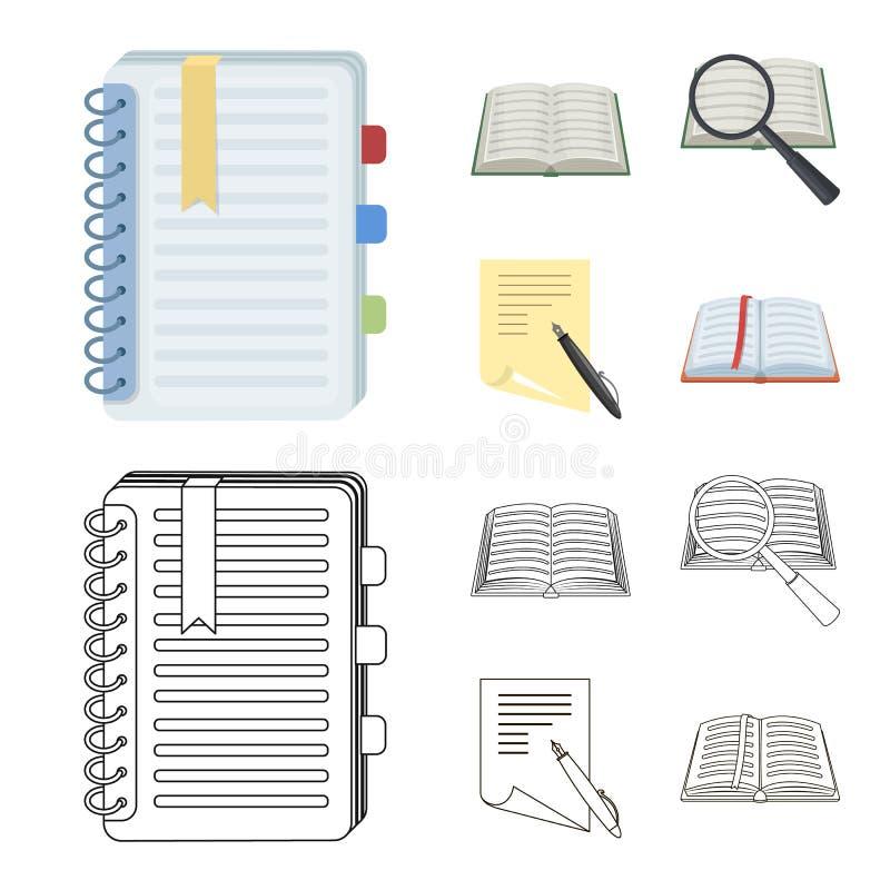 Vectorontwerp van boek en open teken Inzameling van boek en potloodvoorraadsymbool voor Web stock illustratie