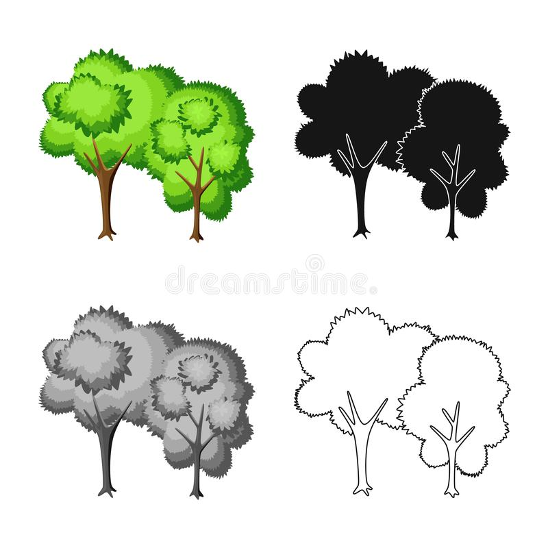 Vectorontwerp van boom en vergankelijk symbool Reeks van boom en groen voorraadsymbool voor Web stock illustratie