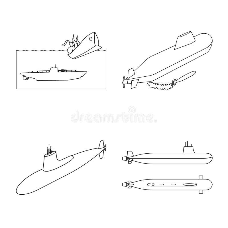 Vectorontwerp van boot en marineembleem Inzameling van boot en diep vectorpictogram voor voorraad stock illustratie