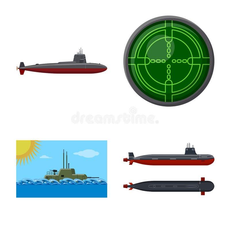 Vectorontwerp van boot en marineembleem Inzameling van boot en diep vectorpictogram voor voorraad vector illustratie