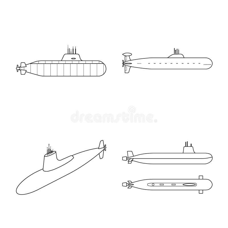 Vectorontwerp van boot en marineembleem Reeks van boot en diepe voorraad vectorillustratie vector illustratie