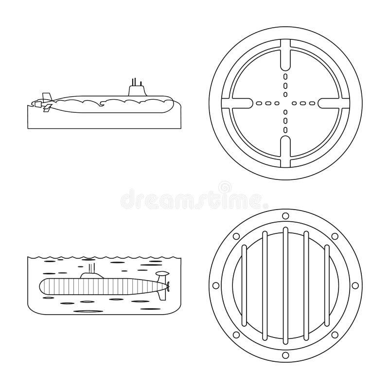 Vectorontwerp van boot en marinesymbool Inzameling van boot en diep vectorpictogram voor voorraad stock illustratie