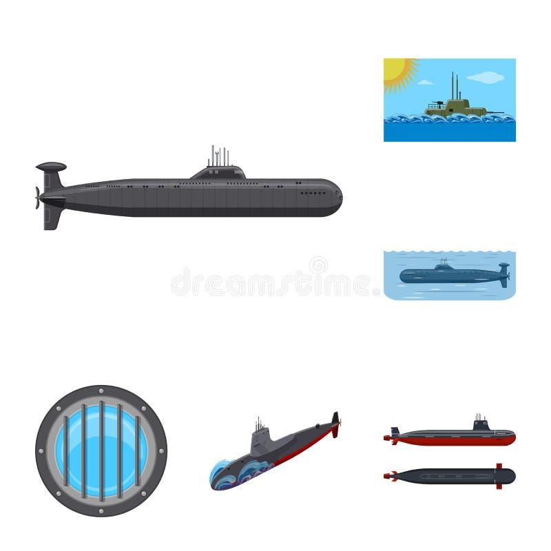 Vectorontwerp van boot en marinesymbool Reeks van boot en diep voorraadsymbool voor Web stock illustratie