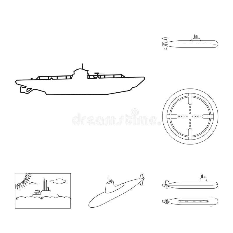 Vectorontwerp van boot en marineteken Inzameling van boot en diep vectorpictogram voor voorraad vector illustratie