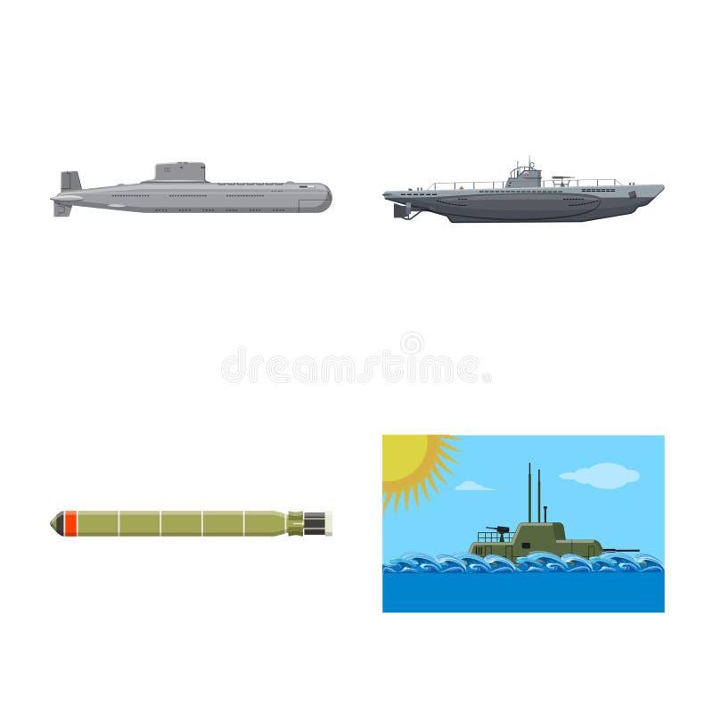Vectorontwerp van boot en marineteken Inzameling van boot en diep vectorpictogram voor voorraad stock illustratie