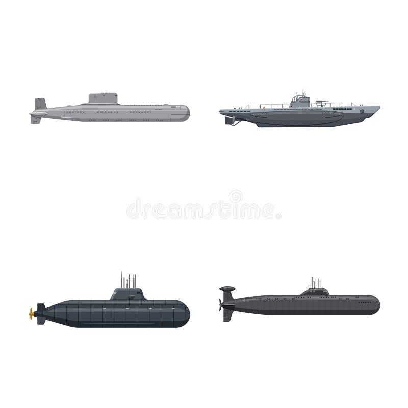 Vectorontwerp van boot en marineteken Reeks van boot en diep voorraadsymbool voor Web stock illustratie