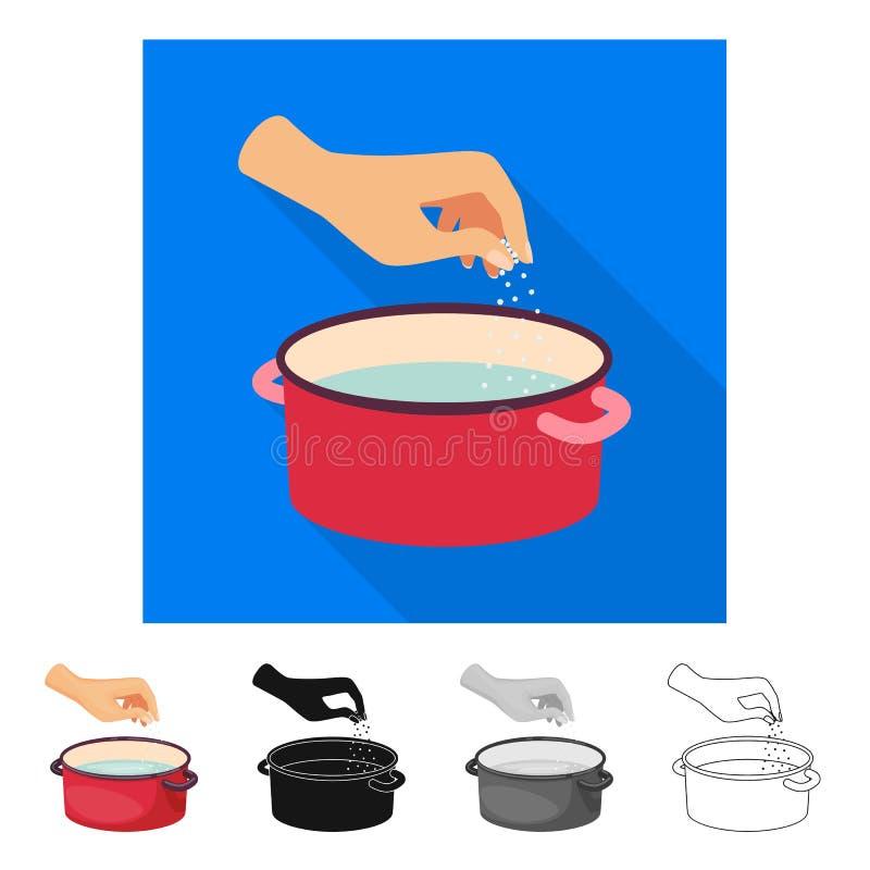 Vectorontwerp van braadpan en waterteken Inzameling van braadpan en wapenvoorraadsymbool voor Web stock illustratie
