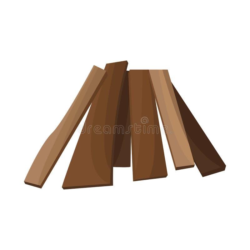 Vectorontwerp van brandhout en boomembleem Reeks van brandhout en houten voorraadsymbool voor Web vector illustratie
