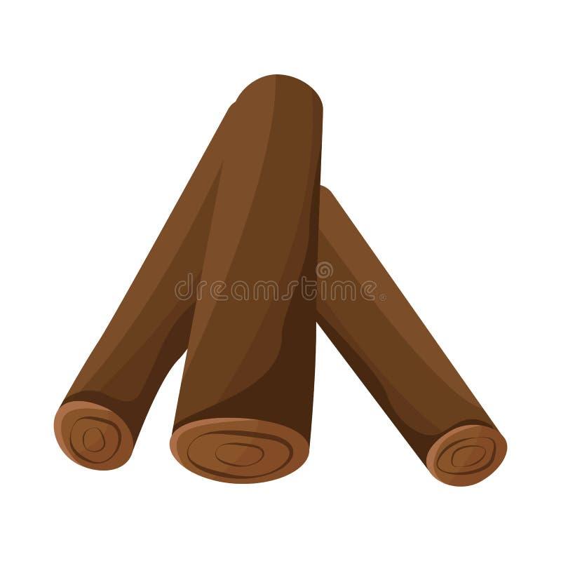 Vectorontwerp van brandhout en gestapeld embleem Inzameling van brandhout en pijnboomvoorraadsymbool voor Web stock illustratie