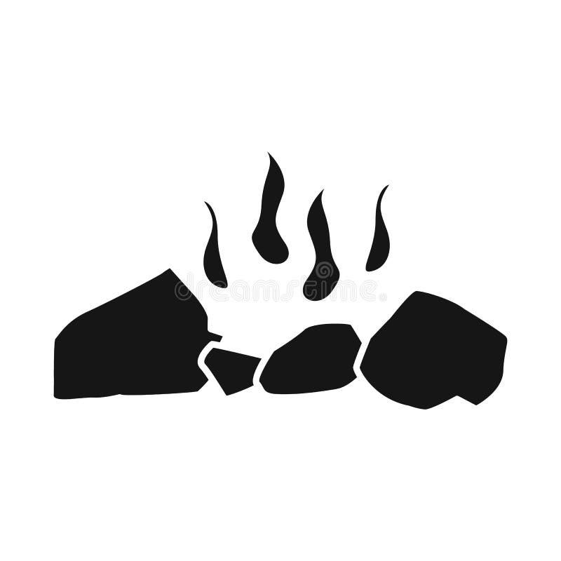 Vectorontwerp van brandhout en vuurteken Reeks van brandhout en houten voorraadsymbool voor Web stock illustratie
