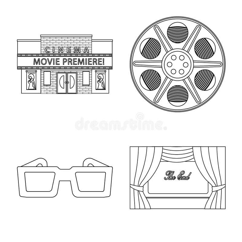 Vectorontwerp van cinematografie en studioembleem Inzameling van cinematografie en vermaakvoorraadsymbool voor Web stock illustratie