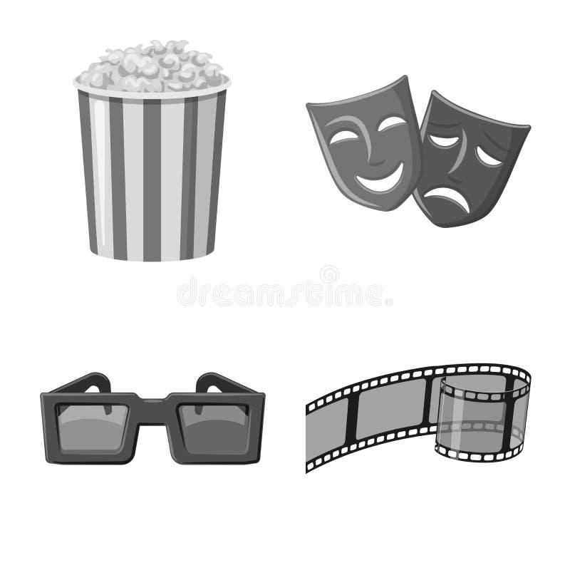 Vectorontwerp van cinematografie en studioembleem Reeks van cinematografie en filmvoorraadsymbool voor Web royalty-vrije illustratie