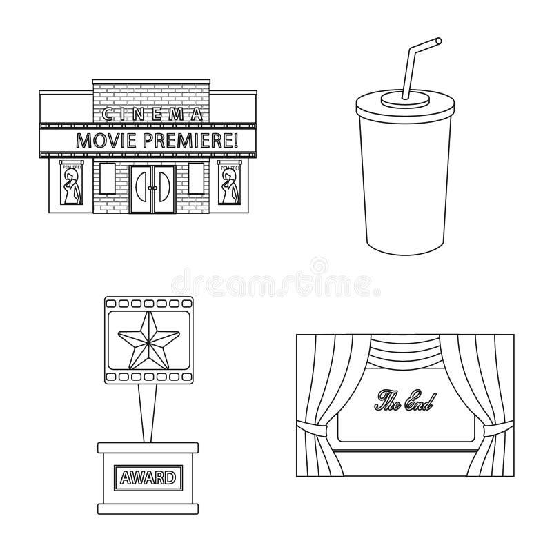 Vectorontwerp van cinematografie en studioembleem Reeks van cinematografie en vermaakvoorraadsymbool voor Web royalty-vrije illustratie