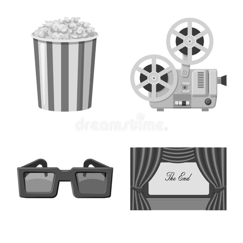 Vectorontwerp van cinematografie en studiopictogram Inzameling van cinematografie en filmvoorraad vectorillustratie royalty-vrije illustratie
