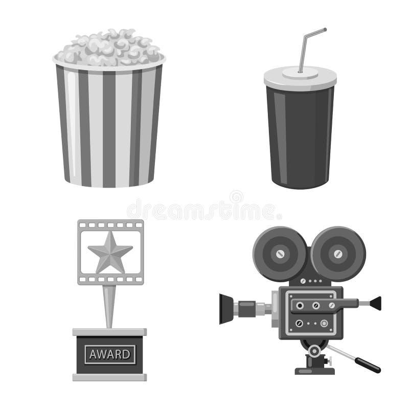 Vectorontwerp van cinematografie en studiopictogram Inzameling van cinematografie en filmvoorraad vectorillustratie stock illustratie