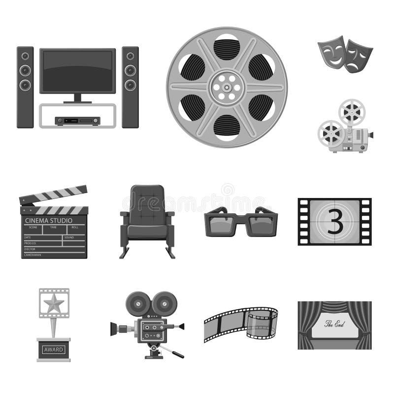 Vectorontwerp van cinematografie en studiosymbool Inzameling van cinematografie en film vectorpictogram voor voorraad stock illustratie