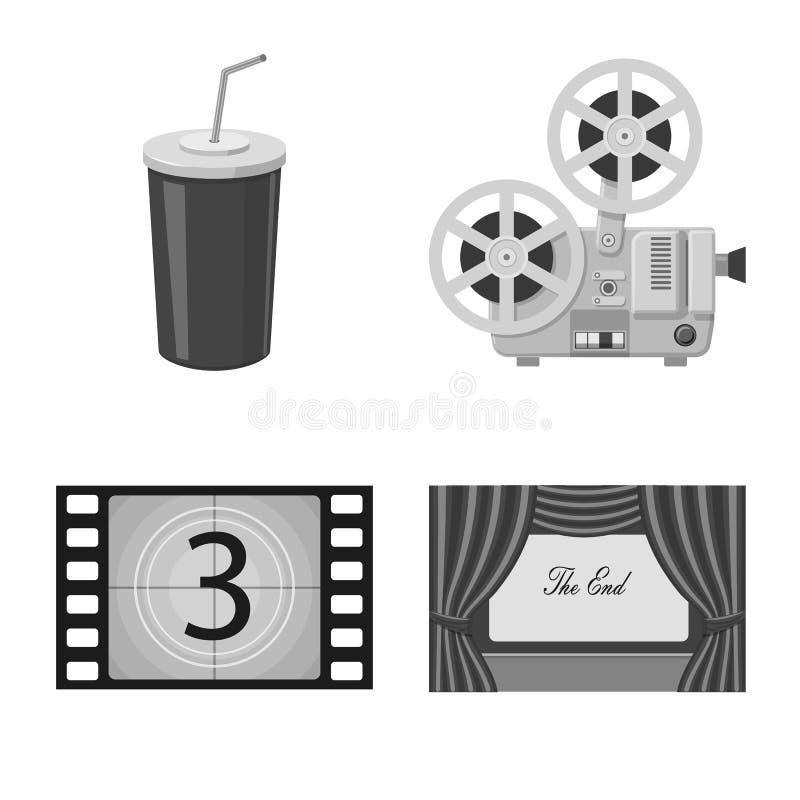 Vectorontwerp van cinematografie en studiosymbool Reeks van cinematografie en filmvoorraadsymbool voor Web royalty-vrije illustratie