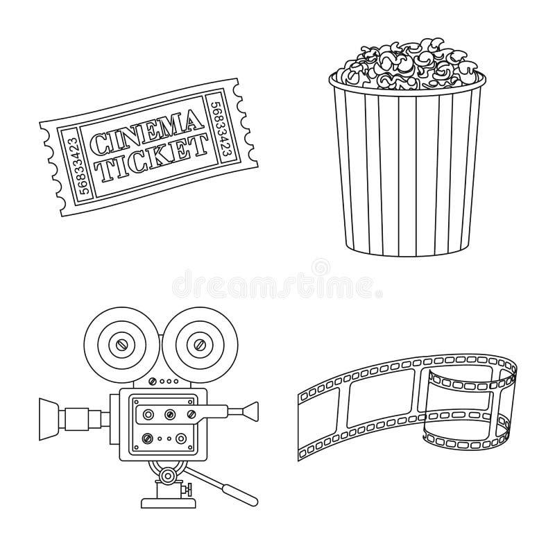 Vectorontwerp van cinematografie en studiosymbool Reeks van cinematografie en vermaakvoorraadsymbool voor Web stock illustratie