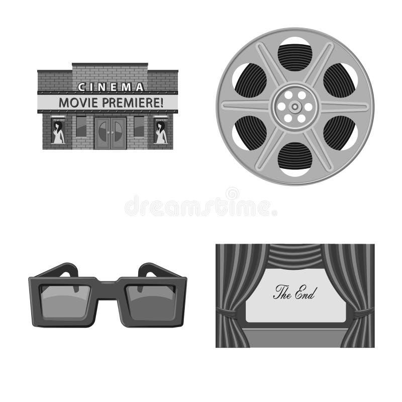 Vectorontwerp van cinematografie en studioteken Inzameling van cinematografie en filmvoorraadsymbool voor Web stock illustratie