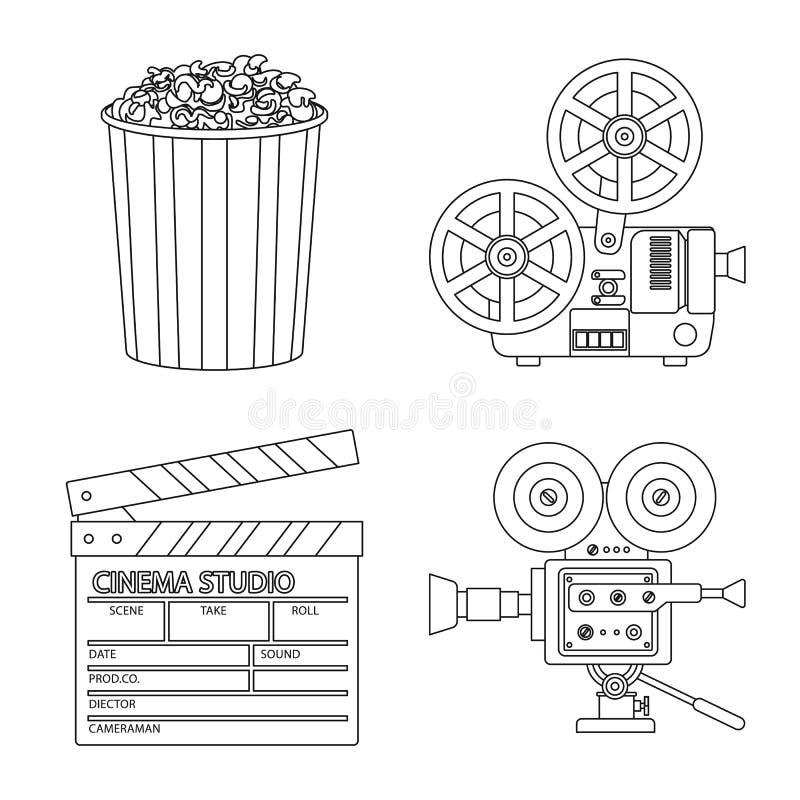 Vectorontwerp van cinematografie en studioteken Inzameling van cinematografie en vermaak vectorpictogram voor voorraad vector illustratie