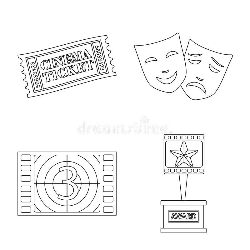 Vectorontwerp van cinematografie en studioteken Inzameling van cinematografie en vermaakvoorraadsymbool voor Web royalty-vrije illustratie