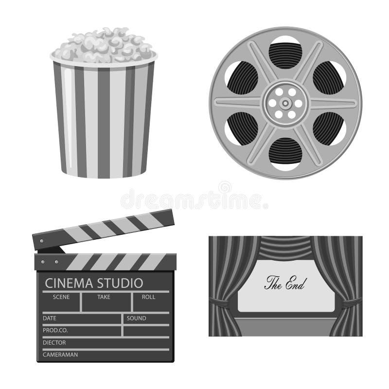 Vectorontwerp van cinematografie en studioteken Reeks van cinematografie en film vectorpictogram voor voorraad stock illustratie