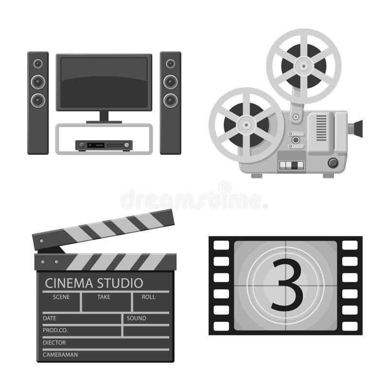 Vectorontwerp van cinematografie en studioteken Reeks van cinematografie en filmvoorraad vectorillustratie vector illustratie