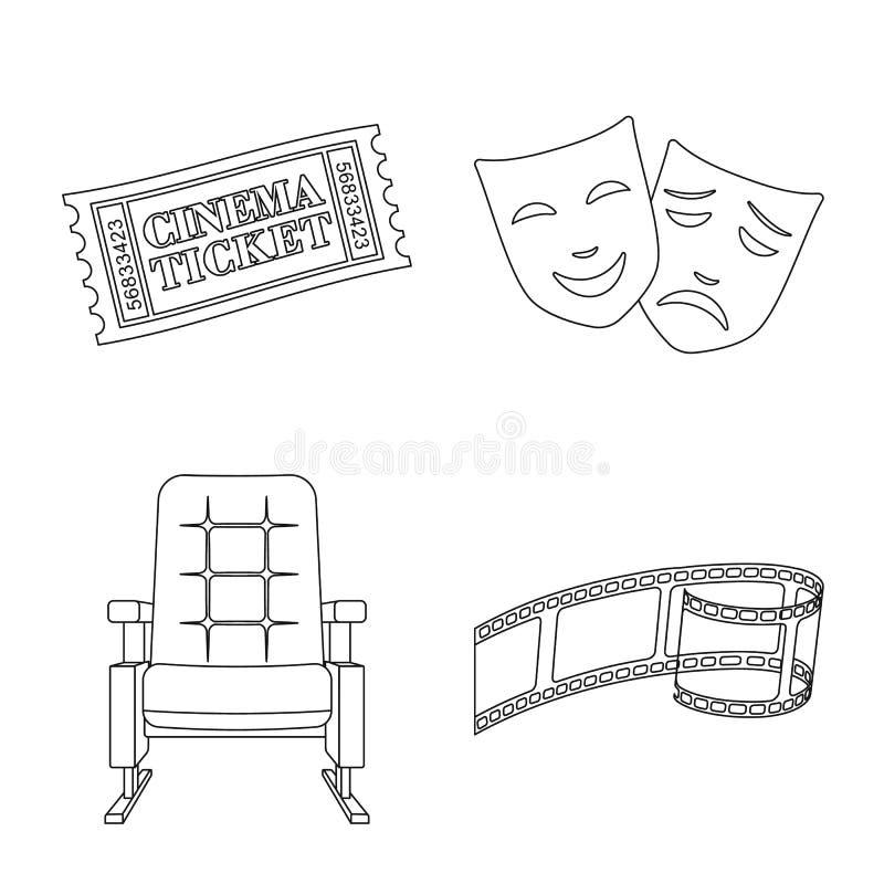 Vectorontwerp van cinematografie en studioteken Reeks van cinematografie en vermaakvoorraad vectorillustratie royalty-vrije illustratie