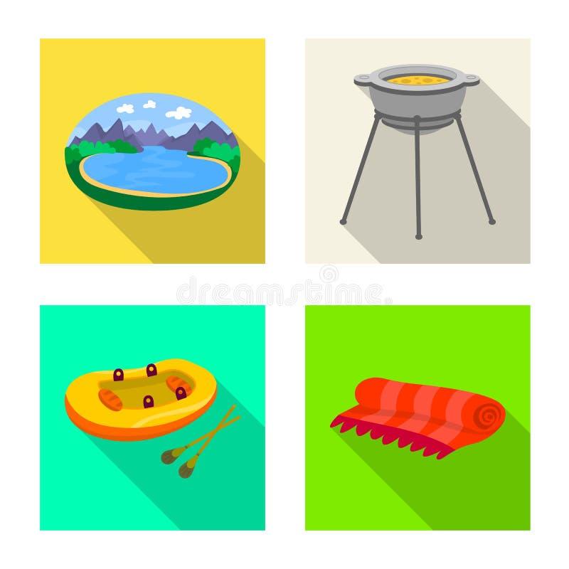 Vectorontwerp van cookout en het wildpictogram Reeks van cookout en rust voorraad vectorillustratie vector illustratie