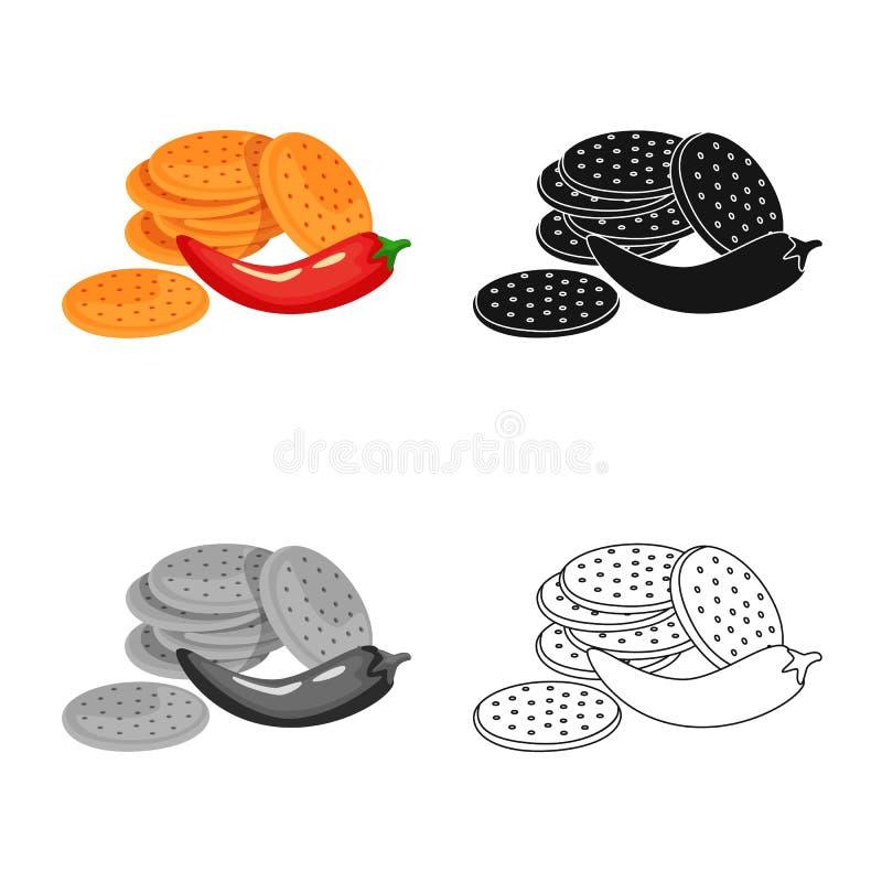 Vectorontwerp van cracker en koekjessymbool Inzameling van cracker en rood vectorpictogram voor voorraad stock illustratie