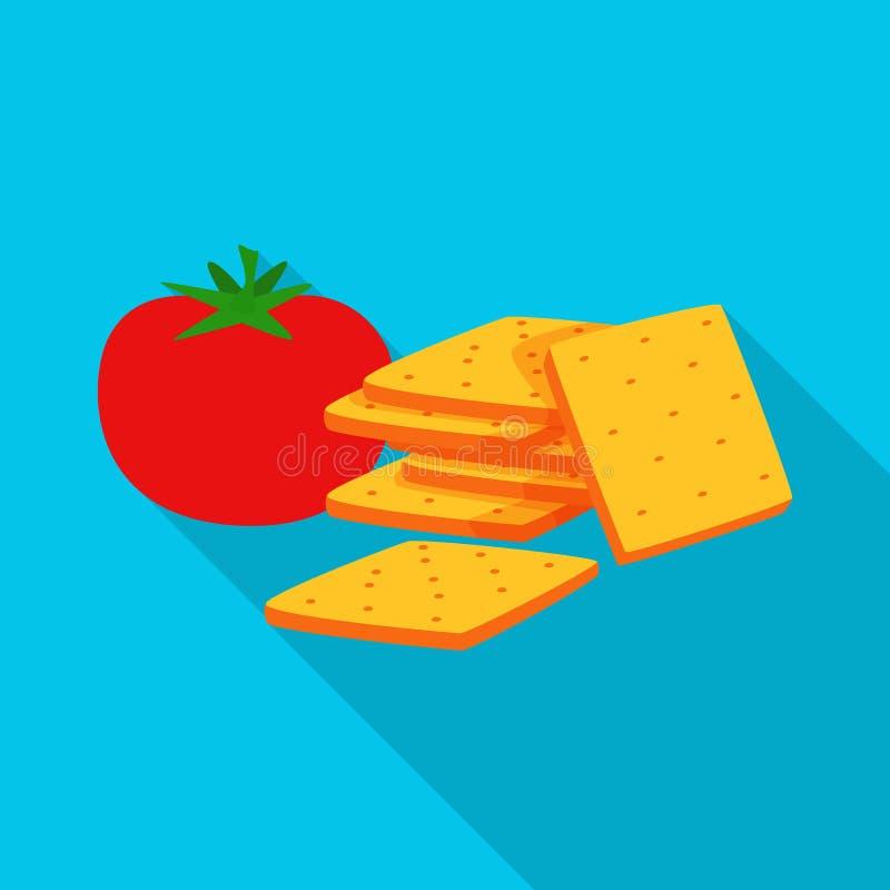 Vectorontwerp van cracker en tomatenembleem Reeks van cracker en de vectorillustratie van de landbouwvoorraad royalty-vrije illustratie