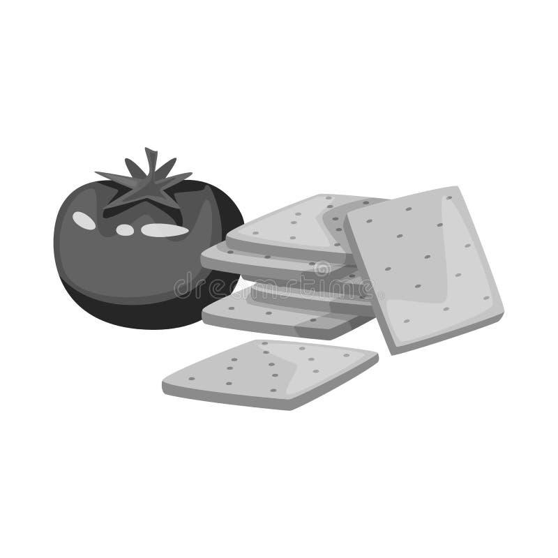 Vectorontwerp van cracker en tomatenembleem Reeks van cracker en landbouw vectorpictogram voor voorraad stock illustratie