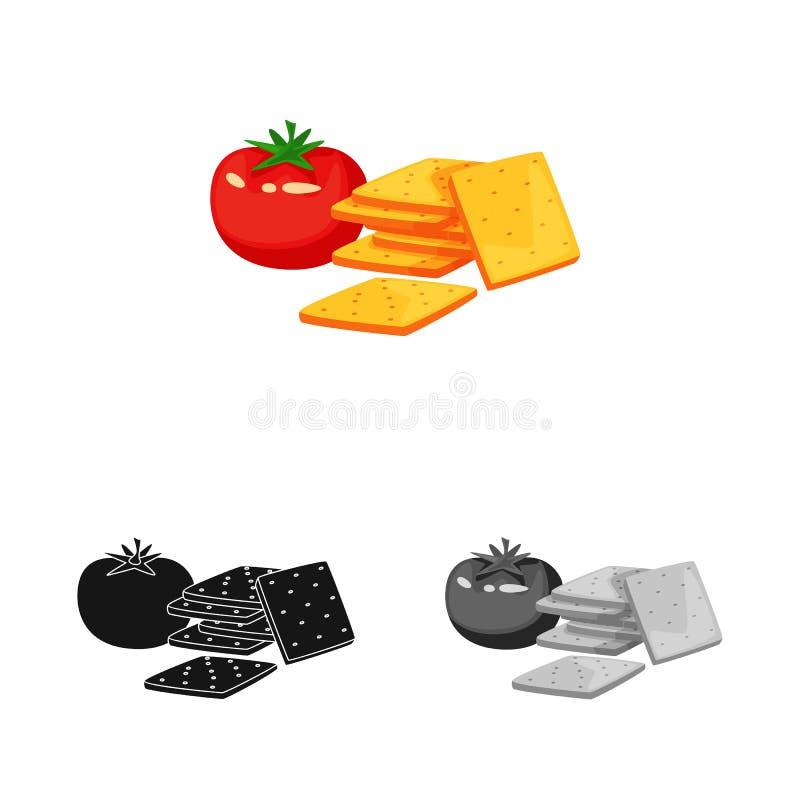Vectorontwerp van cracker en tomatenpictogram Inzameling van cracker en het symbool van de landbouwvoorraad voor Web royalty-vrije illustratie
