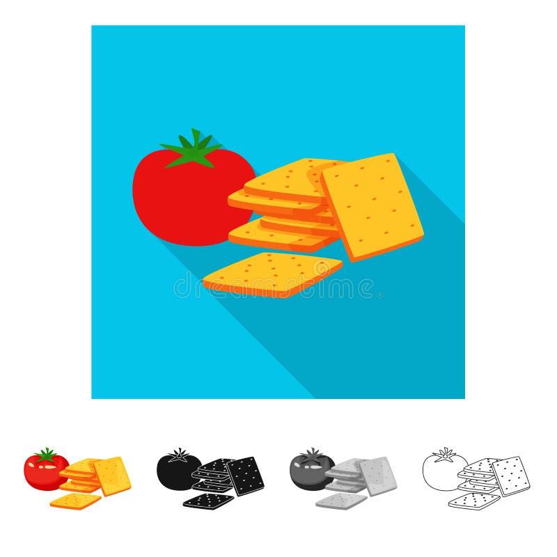 Vectorontwerp van cracker en tomatenpictogram Inzameling van cracker en landbouw vectorpictogram voor voorraad stock illustratie