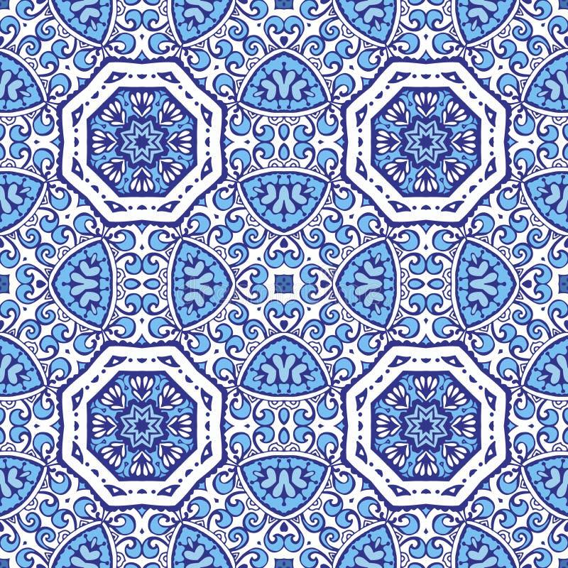 Vectorontwerp van damast het bloemen blauwe naadloze tegels stock illustratie