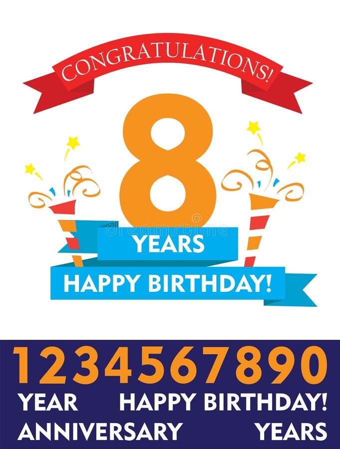 Vectorontwerp van de Editable het gelukkige verjaardag vlakke kleurrijke banner en confettienverjaardag voor jonge geitjes, famil vector illustratie
