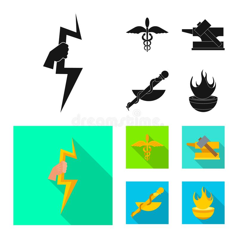Vectorontwerp van deity en antiek symbool Inzameling van deity en mythen vectorpictogram voor voorraad stock illustratie