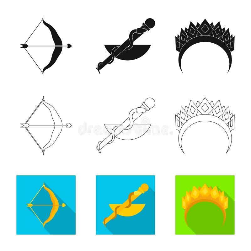 Vectorontwerp van deity en antiek symbool Reeks van deity en van de mythenvoorraad vectorillustratie vector illustratie