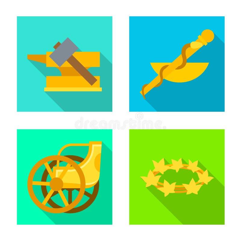 Vectorontwerp van deity en antiek teken Inzameling van deity en van de mythenvoorraad symbool voor Web royalty-vrije illustratie