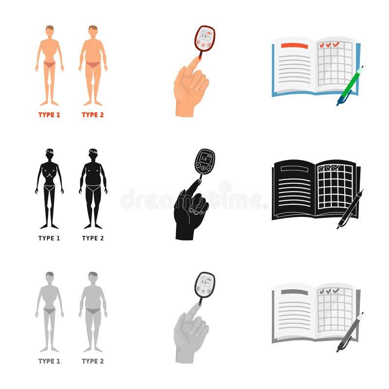 Vectorontwerp van dieet en behandelingsembleem Inzameling van dieet en het symbool van de geneeskundevoorraad voor Web royalty-vrije illustratie