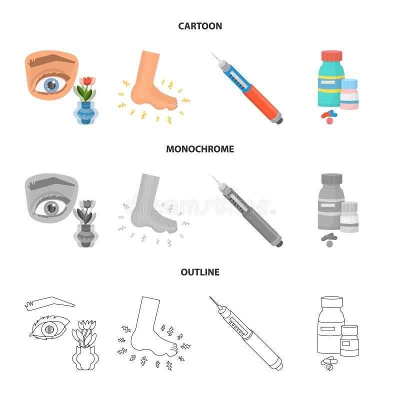 Vectorontwerp van dieet en behandelingsembleem Reeks van dieet en het symbool van de geneeskundevoorraad voor Web stock illustratie