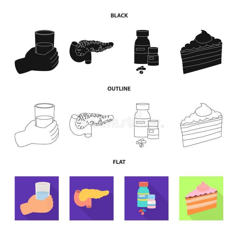 Vectorontwerp van dieet en behandelingspictogram Inzameling van dieet en de vectorillustratie van de geneeskundevoorraad royalty-vrije illustratie