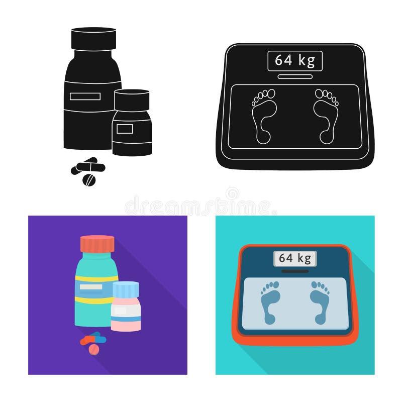 Vectorontwerp van dieet en behandelingspictogram Inzameling van dieet en de vectorillustratie van de geneeskundevoorraad stock illustratie