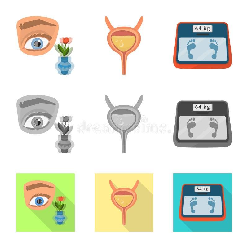 Vectorontwerp van dieet en behandelingspictogram Reeks van dieet en geneeskunde vectorpictogram voor voorraad stock illustratie