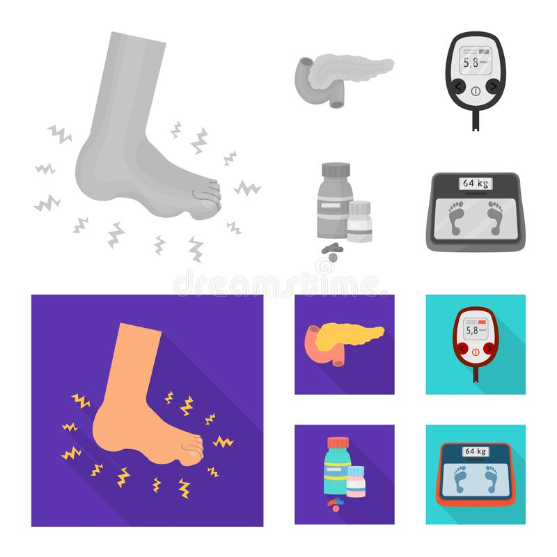 Vectorontwerp van dieet en behandelingssymbool Inzameling van dieet en geneeskunde vectorpictogram voor voorraad stock illustratie